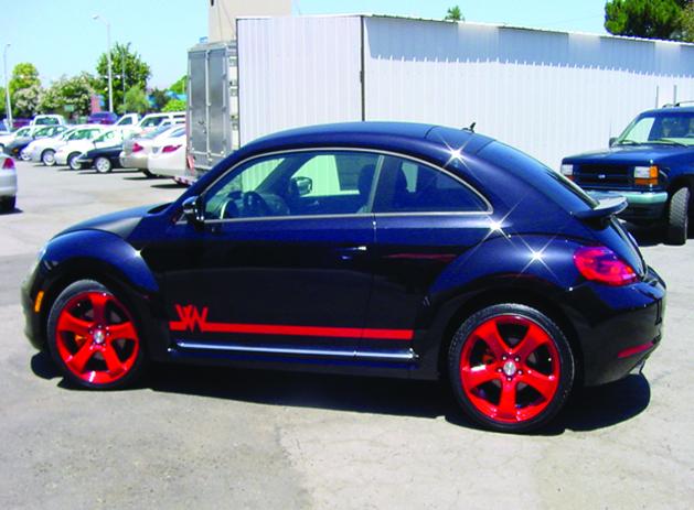 VW_19in MRR wheels custom powder coated red. Window tint  Carbon Fiber roof wrap Custom VW body graphics